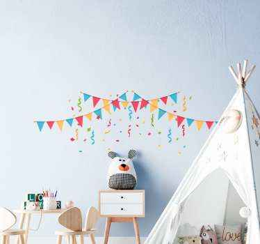Triangle confetti wall sticker to make a lovely banner on the wall space of your kid's room. It is easy to apply and durable.