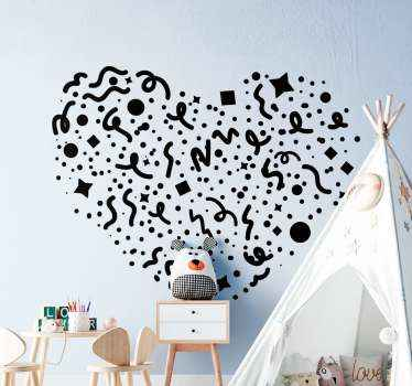 Decorative sprinkle confetti wall sticker created in a heart shape. This design would suit nicely for children bedroom decoration for other spaces.