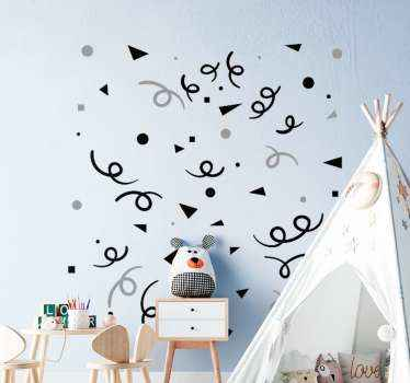 Black and grey confetti wall sticker. You can customize this lovely design in the colour option you want. Easy to apply and available in any size.