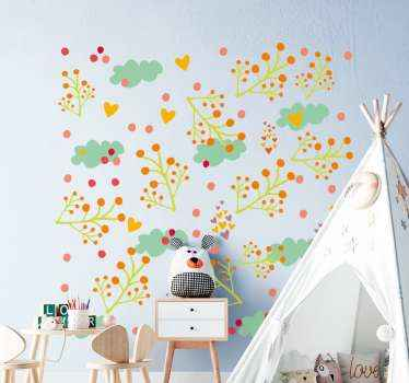 Colorful abstract leaves confetti sticker. You can apply this design on a wall, furniture, door, window, etc.  It is easy to apply and adhesive.