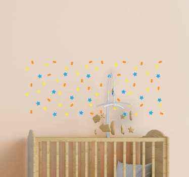 Você pode decorar o quarto ou o quarto do seu filho com este autocolante de confete colorido com círculos de estrelas e serpentinas.