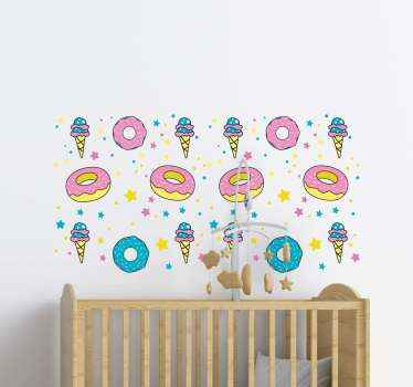 Doughnut & Ice Cream Confetti food sticker. This design can be decorated on any space of your choice depending on the occasion and purpose.