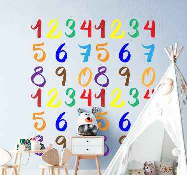 Decorative educational kids wall sticker. A design comprising of colorful numbers from 1 to 10. It is easy to apply and made with quality vinyl,=.
