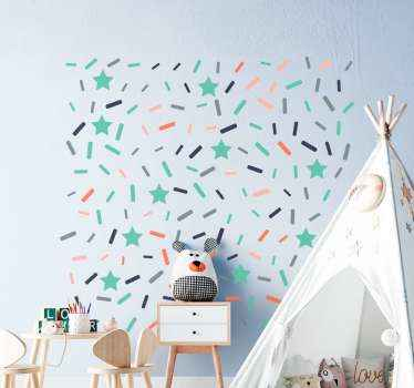 Lovely confetti decoration sticker idea for children's bedroom. This design comprises of stars and multicolored streamers.