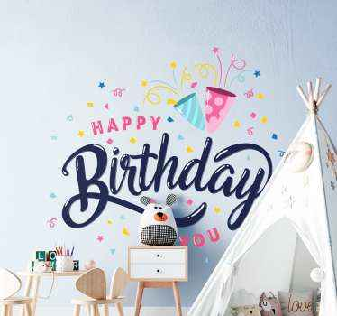 Happy birthday confetti wall sticker design comprising of different ornamental  features, confetti and happy birthday text.