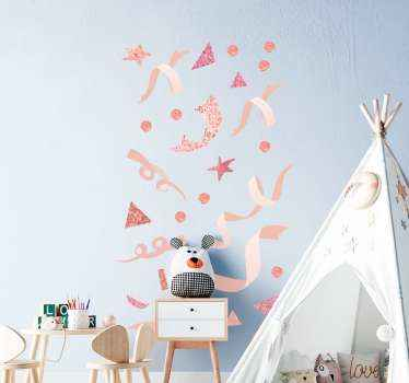 Light pink colour holiday confetti sticker to decorate the home and other places for Christmas, new year and other festivity celebration..