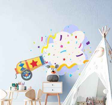 Confetti explosion sticker for children bedroom decoration. A design imitating an explosion of confetti, kids would love and admire this design.