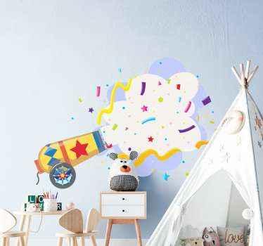 子供の寝室の装飾のための紙吹雪爆発ステッカー。紙吹雪の爆発を模倣したデザインで、子供たちはこのデザインを愛し、賞賛するでしょう。