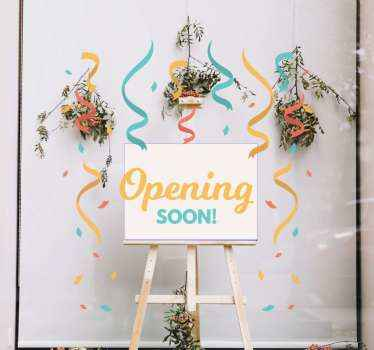 Are you opening a new shop or business? if yes then you can just notify the public with this lovely opening soon confetti window sticker.