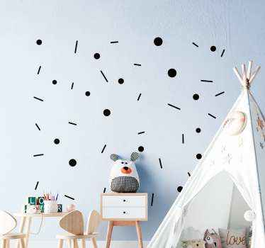 Decorative circles and line confetti wall sticker for children bedroom decoration. The colour and size is customizable and it is easy to apply.