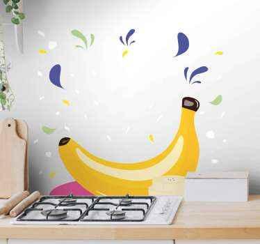 Bel autocollant de nourriture pour la décoration de cuisine. Un design de banane pour décorer votre cuisine de manière charmante. Il est auto-adhésif et durable.