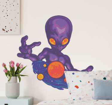Decorative space theme sticker illustrating an alien exhibiting superpower with energy of the universe. Available in any size required.
