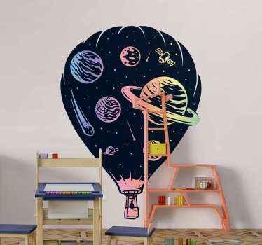 Decoratieve ruimte patroon op luchtballon sticker ontwerp afgebeeld met een zwevende luchtballon met passagiers- en gemerkte lichaamsruimte elementen.