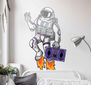 vinis decorativos do espaço de som cósmico. Pode ser decorado em qualquer parte de uma casa ou outro espaço. Um vinil autocolante decorativo ilustrativo do astronauta espacial com caixa de música.