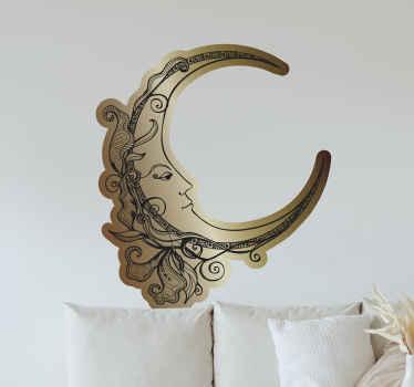 エステティックアートスタイルでデザインされた三日月形の満月様顔貌のウォールステッカー。居間や家の中のその他のスペースに適しています。