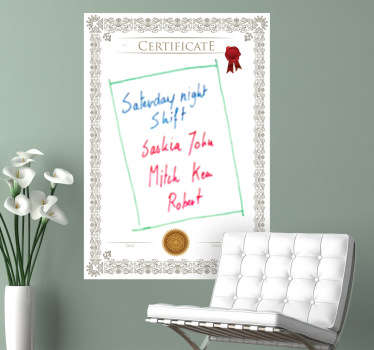Whiteboard - Certificate themed design;ideal for decorating any room, also practical for drawing and writing notes. Perfect for any room