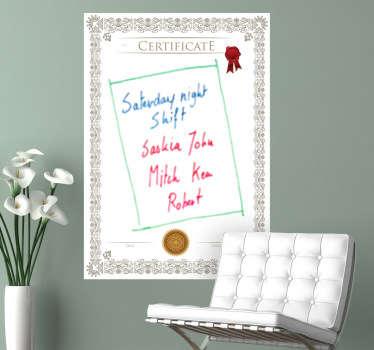 Naklejka dekoracyjna tablica certifykat