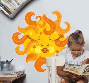 エレガントな太陽のイラストステッカー。女性の事実を描いた鮮やかな黄色の太陽のデザイン。塗布が簡単で、粘着性があり、耐久性があります。