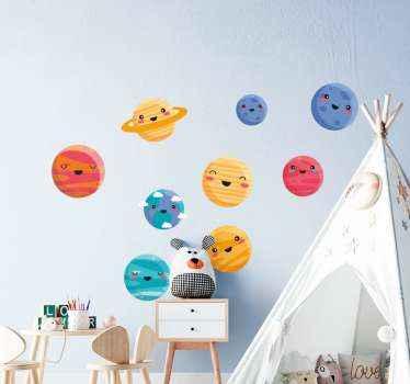 寝室の壁のスペースのための装飾的なスペースデカール。デザインには、宇宙の9つの惑星を描いた9つの絵文字要素が含まれています。