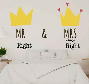 Mr Right, Mrs Right. Husband & wife bridal decal. Lovely inscribed couple's name sticker with crowns that illustrate a king and queen.