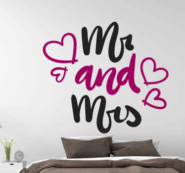 Mr and Mrs Husband and wife wedding sticker. Lovely design for couple's bedroom and it is a common type of decoration for wedding.