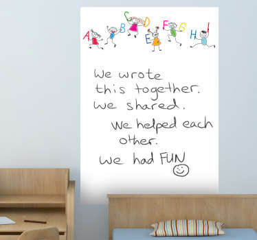 A great whiteboard wall sticker in notepad form with letters of the alphabet. This brilliant children´s bedroom sticker will decorate their room.