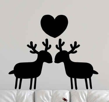 Mari et femme cerf et stickers autocollant mariagebuck. Un dessin illustratif de deux cerfs avec une forme de coeur illustrant l'amour et la solidarité.