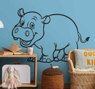 Monochrome Hippopotamous Kids Sticker