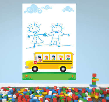 Skolebus whiteboard børne wallsticker