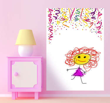 A colourful whiteboard wall sticker to treat your kids. This kids decal is perfect to allow your children to draw and write on your wall!