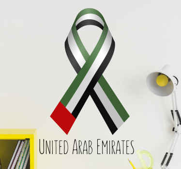 UAE flag ribbon Arab stickers to decorate any space of your choice. Suitable for living room, office, and other space. Easy to apply.
