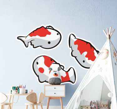 Pretty koi fish decal for children room decoration. The design has three fishes and each can be placed on a surface in the style and manner of choice.