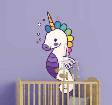 Cute seahorse fish sticker from our collection of marine theme decals. This design illustrate a fish with a unicorn features in colorful appearance.