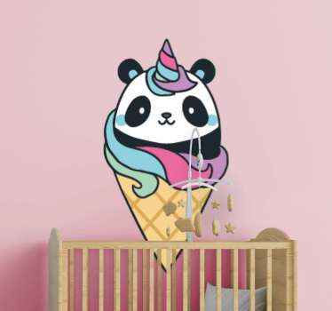 Vinilo bebé de animal pandicornio para guardería o dormitorio. Dibujo con oso panda con cuerno de unicornio colorido ¡Compra online!