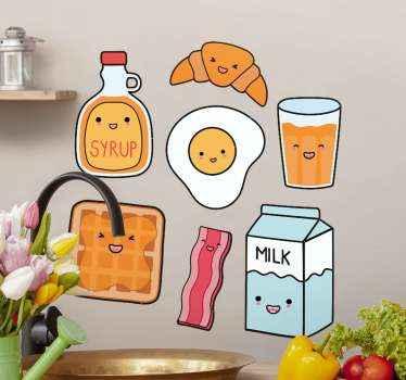Maravillosos vinilos cocina con alimentos como croissant, leche, vaso de zumo y más dibujados con caras ¡Descuentos disponibles!