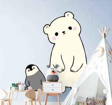 Stel u een beer en een pinguïn samen op een plek voor, dit is wat dit ontwerp illustreert en uw kind zou het geweldig vinden als slaapkamerdecoratie.