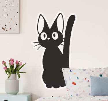 Anime schwarze katze Aufkleberfür liebhaber der katze. Ein entwurf, der eine stehende katze darstellt, die mit dem schwanz wedelt. Es ist selbstklebend, einfach aufzutragen und langlebig.