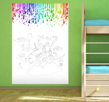 An original whiteboard wall sticker with multicoloured paint drops on the top. A fantastic kids sticker to decorate the bedroom or playroom