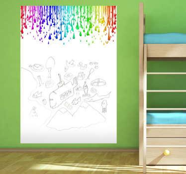 Adhesivo vileda para pintar en tu pared con una serie de colores cayendo por la parte superior. Aplicación en superficie lisa.