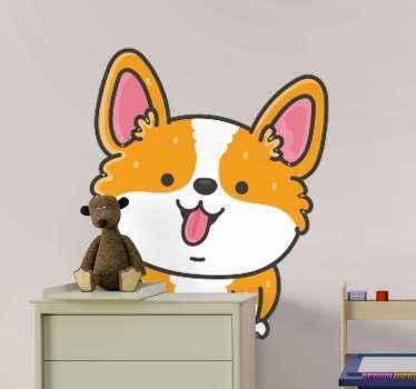 Dekorative anime niedlichen hund katze Aufkleber . Als mehrfarbiges Design eines kleinen welpen kann es auf jeden platz im schlafzimmer des kindes geklebt werden.