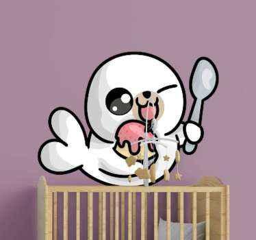 Vinilo bebé de foca bebé dibujada para el dormitorio de tus niños. Diseño de foca alegre con helado y cuchara ¡Descuentos disponibles!