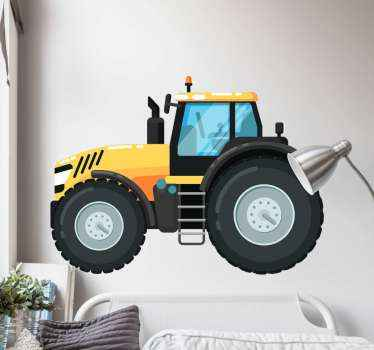 Create fun and playful atmosphere in the bedroom  of your kid by decorating it with this yellow tractor toy sticker. Easy to apply and self ashesive.