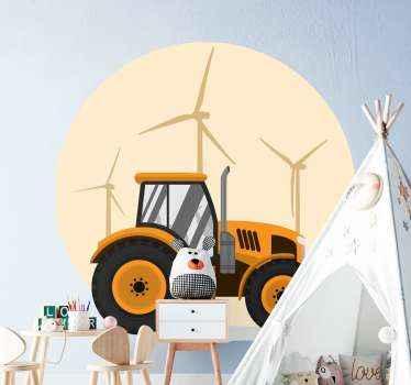 Vinilo para niños de fondo de molinos de viento para decorar la habitación de un niño. Elige las medidas ¡Descuentos disponibles!