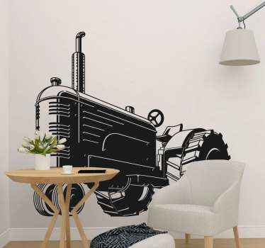 Decorative retro monochromatic tractor toy sticker just perfect to decorate the room of kids who love tractors. The colour is customizable.