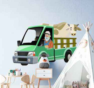 Farmer's truck transportation toy sticker to decorate the room of your kid. Great wall sticker decoration idea for kids who love farming and tractors.