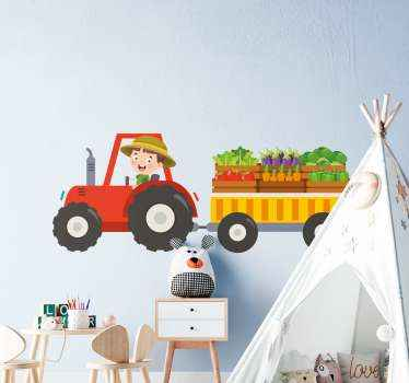 Decorative kids toy tractor design illustrating a boy driving a tractor conveying different farm produce. Easy to apply and self adhesive.