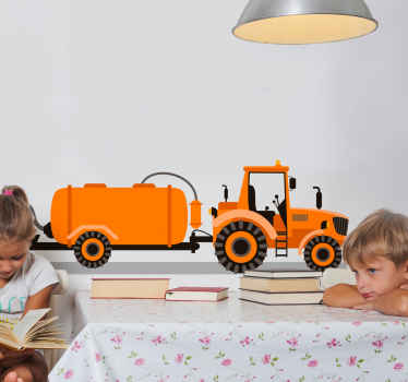 Original farmer's plowing tractor decal from our collection of kids toy tractor sticker. Suitable to decorate kids room in a house.