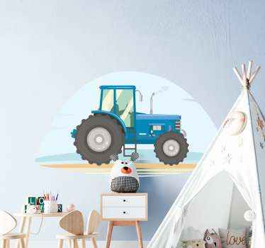 Blue tractor illustration toy sticker for kid's room especially for boys. An ideal toy vehicle decal to give your child's room a new appearance.