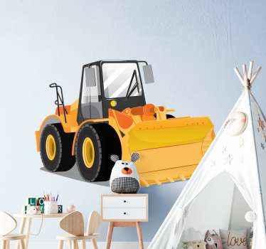 Vinilo para niños con tractor de  amarillo perfecto para decorar la habitación de los niños. Elige las medidas ¡Fácil de colocar!