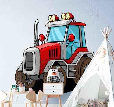 Adesivo giocattolo grande trattore rosso dalla nostra collezione di sticker in vinile fattoria. Design adatto per decorare la camera da letto del tuo bambino.